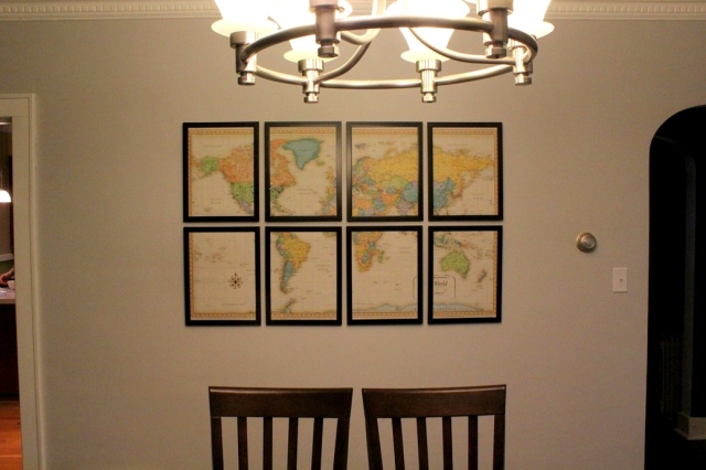 DIY Map Art Hung with Velcro | This Nest is Best